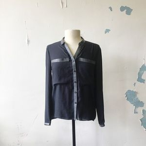Helmut Lang Gray Lambs Leather Trim Button Down